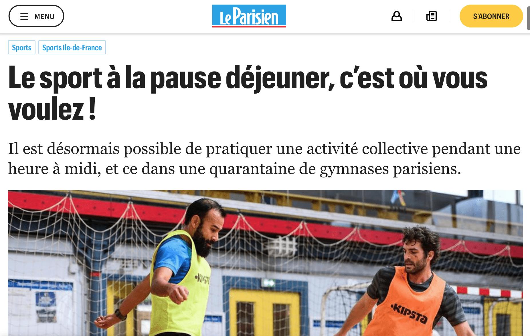 Le Parisien : le sport à la pause déjeuner avec AllSessions